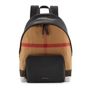 NWT Burberry Abbeydale Canvas Leather Backpack